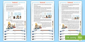 KS2 Pentecost  Differentiated Reading Comprehension Activity - Christian, Christianity, jesus, resurrection, tongues of fire, bible, story