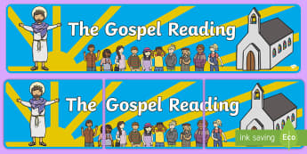 The Gospel Reading Banner - Confession & First Communion Resources,Irish, gospel, religion, display, banner, mass, holy communio