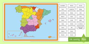 Póster: Colocar las provincias de España Póster DIN A4 - Mapas, provinicias, mapas mudos, mapas en blanco, las ciudades de españa, comarcas, concejos, comun
