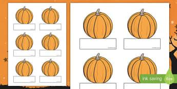 Editable Halloween Pumpkin Self Registration - Halloween, pumpkin, witch, bat, scary, black cat, Self registration, register, editable, labels, registration, child name label, printable labels, mummy, grave stone, cauldron, broomstick, haunted house,