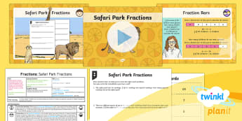 PlanIt Y4 Fractions Problem Solving (2) Lesson Pack Safari Park Fractions - fraction, fraction of amount, fraction of a number, fraction of a quantity, problem solving, fractio