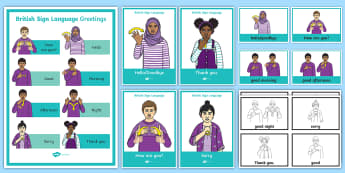 British Sign Language BSL Greetings Display Pack - british sign language, bsl, deaf, hard of hearing, HH, HoH, Ddeaf, D/deaf, deafblind, communication,