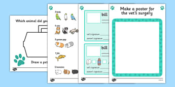 Vets Role Play Area Worksheets - vets, role play, worksheet