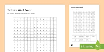 Tectonics Word Search Activity Sheet - The Challenge of Natural Hazards AQA GCSE, word, search