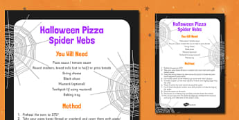 Halloween Spider Web Pizza Recipe - food, instructions, halloween, KS1, KS2