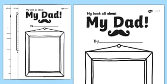 A Book About My Dad Template Fathers Day Gift Idea - father, dad