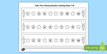 Peter Pan Missing Number Activity Sheet 1-10 - peter pan, missing number, activity, 1-10, story, numeracy, tinkerbell, worksheet