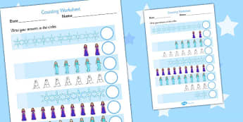 Winter Fairytale Counting Worksheet - frozen, counting, sheet