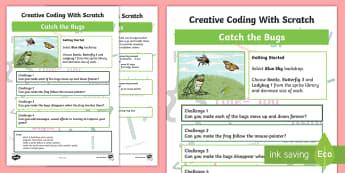 Catch the Bugs Scratch Activity Sheet - KS2, curriculum aims, computing, programming, coding, algorithms, instructions, commands, Scratch