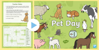 Pet Day Interactive Word Search - New Zealand, Pet Day, Farm Safety, Pet Show, Wordfind, Wordsearch