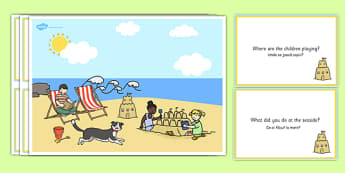 Seaside Scene and Question Cards Romanian Translation - romanian, seaside, questions, comprehension pack