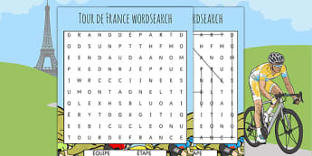 Tour de France Differentiated French Wordsearch - le tour, sport