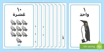 ملصقات الشتاء للأعداد من 1 إلى 10 - الشتاء، عربي، أعداد، أرقام، ملصقات، لوحات، حائط، حساب