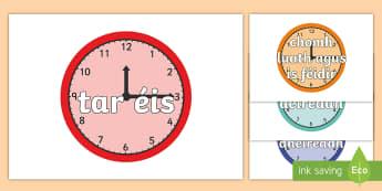 Póstaeir Taispeána: Cónaisc Ama - Time Conjunctions on Clocks, póstaeir taispeána: cónaisc ama, time, am, an t-am, connectives, có