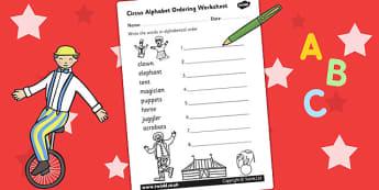 Circus Alphabet Ordering Worksheet - a-z, a-z order, order, sort