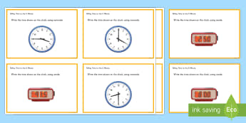 Telling Time to the Five Minute Interval Task Cards - Common Core, Second Grade, Measurement, Time, five minutes, telling the time practise, telling the t