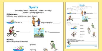 Sports Activity Sheet, worksheet