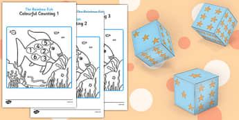 Colourful Counting Resource Pack to Support Teaching on The Rainbow Fish - rainbow fish