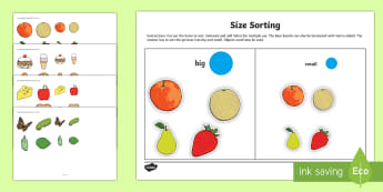 Workstation Pack: Size Sorting Activity Pack - Workstation Packs, comparing, size, measure, big, small, little, size, fruit