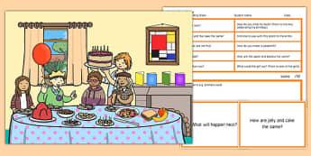 Birthday Party Scene Blanks Level 3 Questions - receptive language, expressive language, verbal reasoning, language delay, language disorder, comprehension, autism