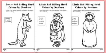 Little Red Riding Hood Colour by Numbers - litte red riding hood, colour, numbers, red, riding, hood