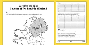 X Marks the Spot Counties of the Republic of Ireland Worksheet - x, marks, spot, counties, ireland