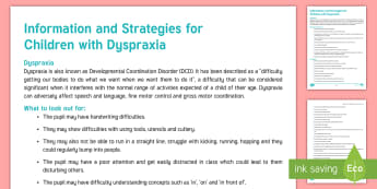 Dyspraxia Strategies and Information Adult Guidance - Dyspraxia, Developmental Coordination Disorder