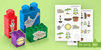 Plant Life Cycles Matching Connecting Bricks Game - EYFS, Early Years, KS1, Connecting Bricks Resources, duplo, lego, plastic bricks, building bricks, l