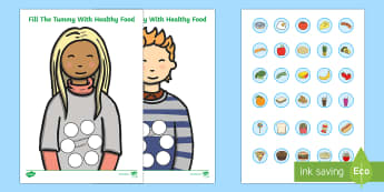 Healthy Food Fill The Tummy Activity - healthy, health, body