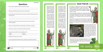 St. Patrick's Day Differentiated Reading Comprehension Activity-Irish - ROI - St. Patrick's Day Resources, st patrick's day, Paddy's day, comprehension, reading, history