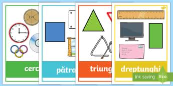 Figuri plane cu exemple din viața cotidiană Planșe - figuri plane, geometrie, figuri geometrice, figuri bidimensionale, exemple de figuri, matematică, m