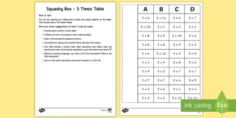 Squashy Box - 3 Times Tables - Mental Maths Warm Up + Revision - Northern Ireland, squashy boxes, times tables, multiplication, thr