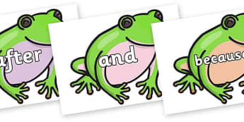 Connectives on Green Tree Frog - Connectives, VCOP, connective resources, connectives display words, connective displays