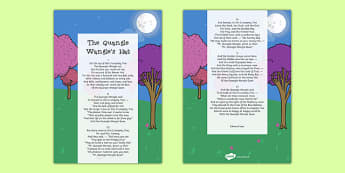 The Quangle Wangles Hat Edward Lear Poem Print Out - poetry, literature, key stage 2, KS2, English, Key Stage 3, KS3
