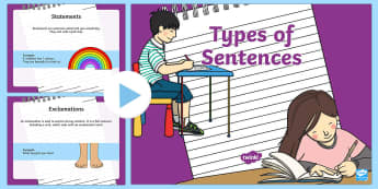 Types of Sentences PowerPoint - Powerpoint, sentence types, exclamation, command, statement, question, grammar, punctuation, English