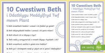 10 Cwestwin Beth i Ddatbylgu Meddylfryd Twf mewn Plant Poster Arddangos A4 - WL Social Media Requests in Welsh KS2 (HIGH PRIORITY), meddylfryd twf, meddwl yn bositif, ABaCh, ,We