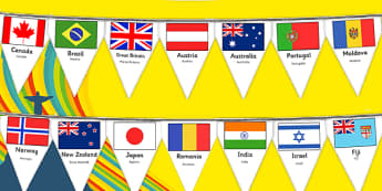 Rio Olympics 2016 Country Flags Bunting Romanian Translation - romanian, rio olympics, 2016 olympics, country, flags, bunting, display