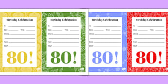 80th Birthday Party Invitations - 80th birthday party, 80th birthday, birthday party, invitations
