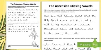 The Ascension Missing Vowels Activity Sheet - NI, Ascension, Jesus, apostles, vowels, mission, witness, Easter, worksheet