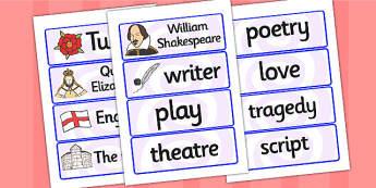 William Shakespeare Word Cards - william shakespear, word cards, topic cards, themed word cards, themed topic cards, key words, key word cards, keyword