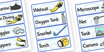 Deep Sea Explorer Equipment Labels (Under the Sea) - deep sea explorer, equipment, labels, deep sea explorer labels, deep sea explorer equipment, exploring deep sea