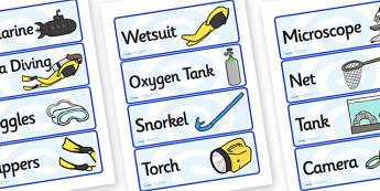 Deep Sea Explorer Equipment Labels (Under the Sea) - deep sea explorer, equipment, labels, deep sea explorer labels, deep sea explorer equipment, exploring deep sea