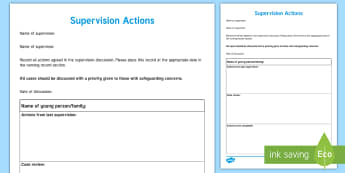 Supervision Actions Young People & Families Case File Recording Template - Young People & Families Case File Recording, referral, chronology, contents page,buddy system, safeg