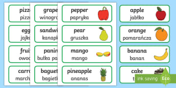 Food Topic Word Cards English/Polish - Food Topic Word Cards - food, word cards, cards, snack, eating, healthy, lunch, bread, banana, fruit