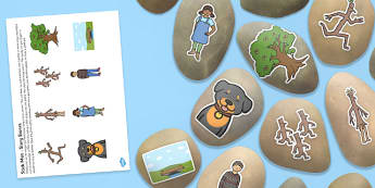 Story Stones Image Cut Outs to Support Teaching on Stick Man - story stone, image, cut outs