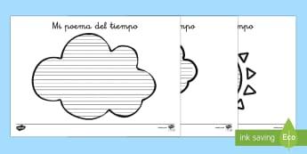 Pautas: Mi poema del tiempo - El tiempo y las estaciones del año, proyecto, escritura, escribir, marcos, poesia, Spanish