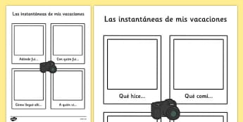 Las instantáneas de mis vacaciones - spanish, my holiday, snapshot, writing frame, writing, frame, holiday
