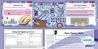 PlanIt Computing Year 1 Using and Applying Lesson 3: Editing Lesson Pack  - typing, word processing, bold, underlined, edit, undo, PLanIt, computing, KS1, year 1