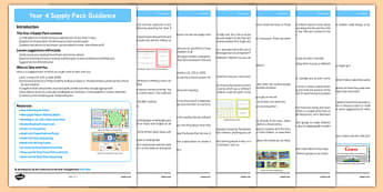 KS2 Year 4 Supply Pack Guidance - ks2, year 4, supply, pack, guidance