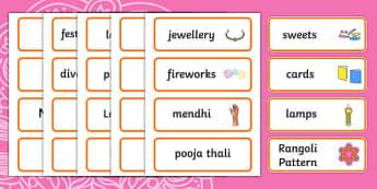 Diwali Word Cards - Word cards, Word Card, flashcard, flashcards, Diwali, religion, hindu, hanoman, rangoli, sita, ravana, pooja thali, rama, lakshmi, golden deer, diva lamp, sweets, new year, mendhi, fireworks, party, food